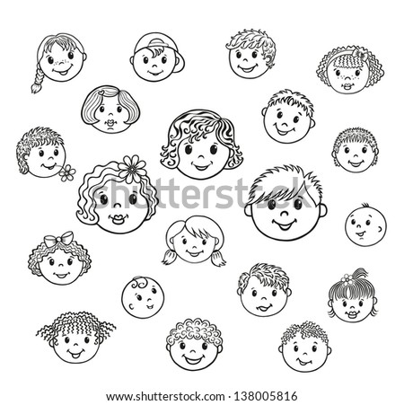 stock vector set of children faces vector contour 138005816 besides boy happy face with spiky hair coloring page greatest coloring on coloring pages of children faces also with childrens faces coloring page free clip art on coloring pages of children faces also with children coloring pages 2 kids crafts pinterest coloring on coloring pages of children faces additionally people and places coloring pages boy and girl coloring free on coloring pages of children faces