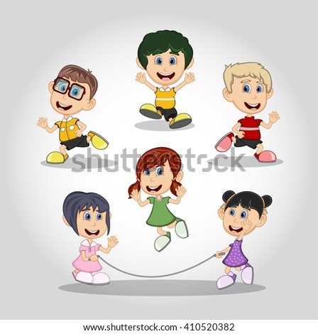 Set of children running and jumping rope cartoon vector illustration - stock vector