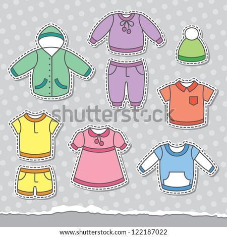 set of children's clothes, vector design elements - stock vector