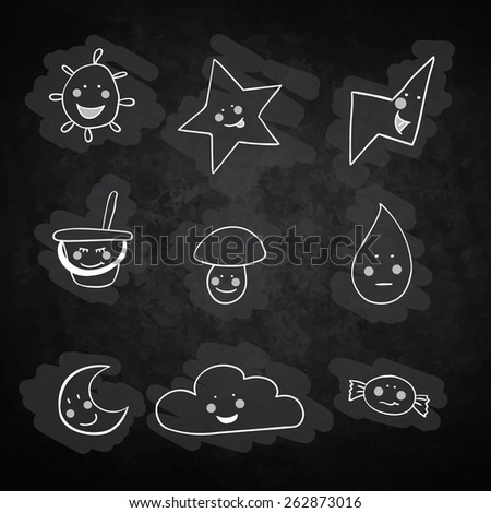 set of children's illustrations. Consists of the sun, lightning, cloud, candy, moon, mushroom, star, bucket with a shovel. Used a black background. imitation drawing with chalk. - stock vector