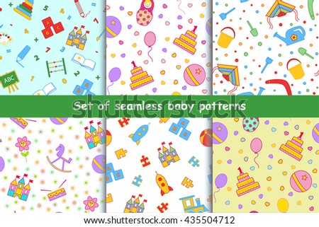 Set of children's seamless vector pattern. A collection of bright, beautiful, positive background with toys. Design elements for the printing of children's artwork, wallpaper, textile printing