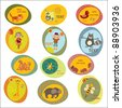 set of children's stickers - stock vector