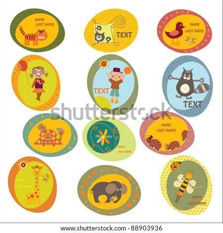 set of children's stickers - stock vector