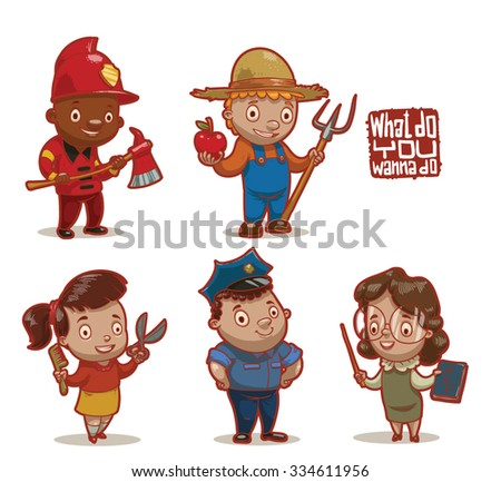 Set of children wearing in job uniforms what they will do in a future, hairdresser, police officer, firefighter, farmer, teacher, vector - stock vector