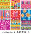 Set of childrens seamless pattern - stock photo