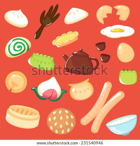 Set of Chinese Dim Sum. - stock vector