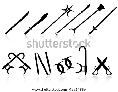 SET OF CHINESE WEAPONS - stock vector
