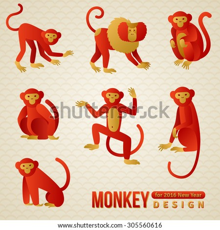 Set of Chinese Zodiac - Monkeys. Vector illustration. 2016 New Year Symbol. Playful Marmoset and Baboon. Sitting Monkey, Dancing Monkey. Chimpanzee Silhouette. - stock vector