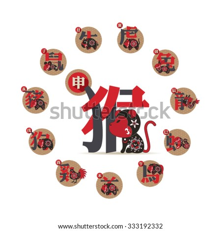 Set of Chinese zodiac signs. Twelve astrological symbols and their definitions. - stock vector
