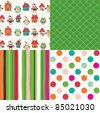 set of christmas abstract seamless patterns - stock vector