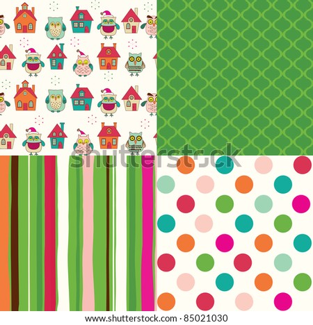 set of christmas abstract seamless patterns