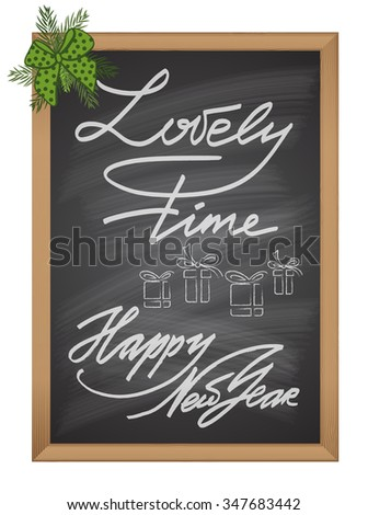 Set of Christmas and New Year decorative text chalk element on black board Vector illustration - stock vector