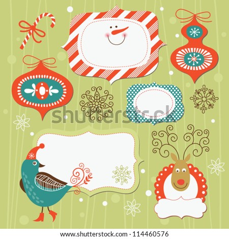 Set of Christmas and New Year elements - stock vector
