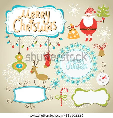 Set of Christmas and New Year elements, cute frames for text - stock vector