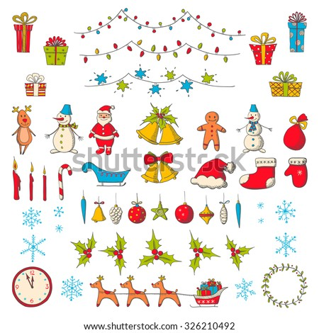 Set of Christmas and new year elements in sketch style. Vector illustration
