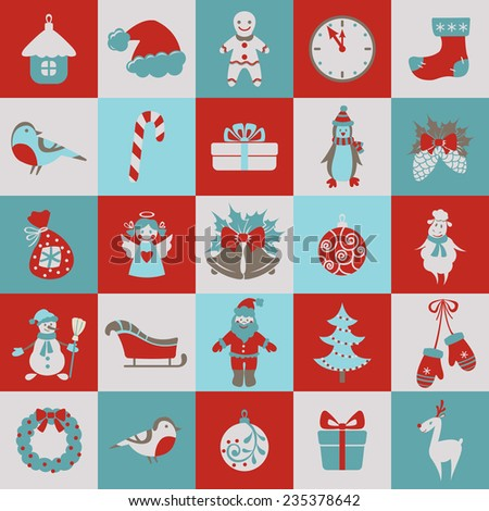 Set of Christmas and new year flat elements. Vector illustration