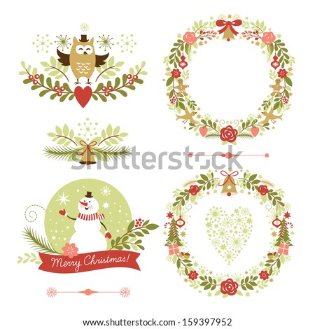 Set of Christmas and New Year graphic elements, holiday symbols - stock vector