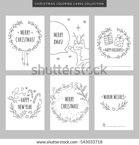 Set Christmas New Year Greeting Cards Stock Vector 543033718 ...