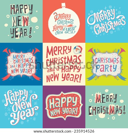 Set of Christmas and New Year labels with Hand Lettering Typography - stock vector