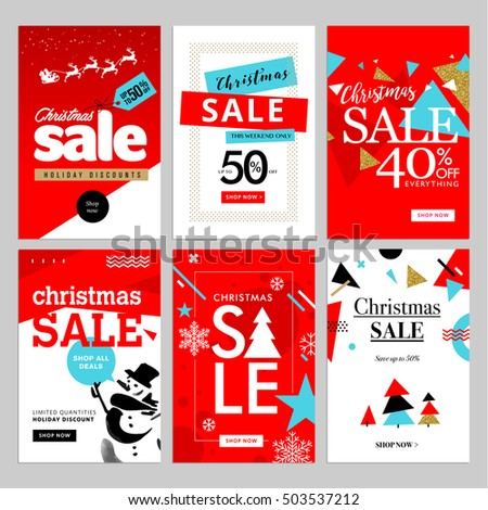 Set Christmas New Year Mobile Sale Stock Vector 503537212 ...