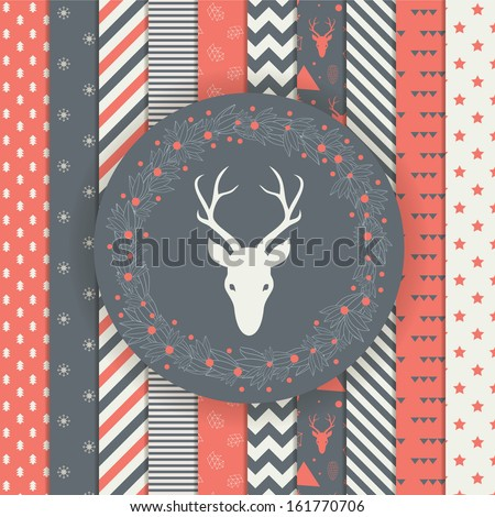 Set of Christmas and New Year's backgrounds. Black and gold modern holiday pattern. Elegant laurel wreath with deer head. - stock vector