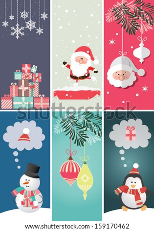 Set of Christmas and New Year's banners - stock vector