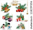 Set of Christmas and New Year's decoration elements isolated on a white background. - stock photo