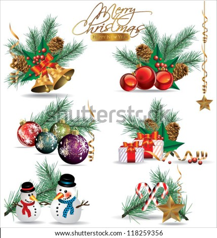 Set of Christmas and New Year's decoration elements isolated on a white background. - stock vector