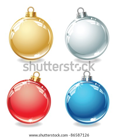 Set of Christmas balls on a white background - stock vector