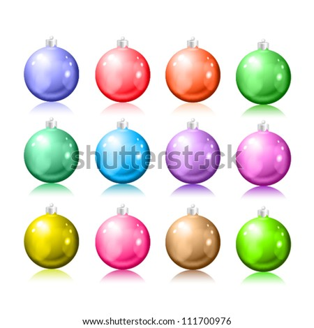 Set of Christmas balls on a white background. EPS10 vector. - stock vector
