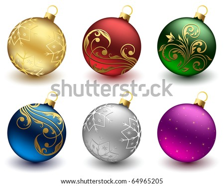 Set of Christmas balls on white background, illustration - stock vector