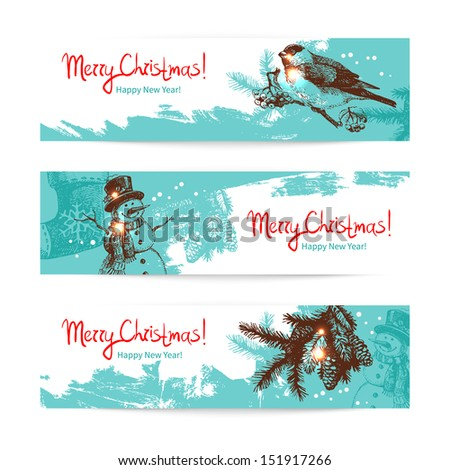 Set of Christmas banners. Hand drawn illustrations - stock vector