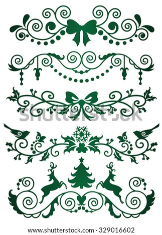 Set of christmas banners on green. - stock vector