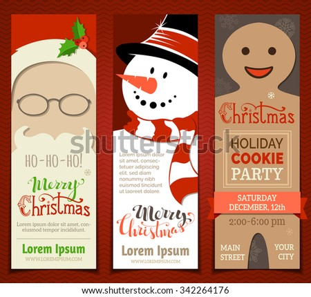 Set of Christmas banners. Vector Christmas templates with Santa face, snowman and gingerbread man. There is place for your text. - stock vector