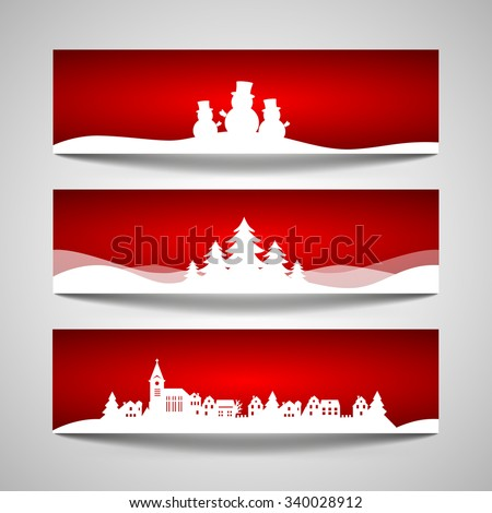 Set of Christmas banners with a papercut snowman, tree, village design cut out - stock vector
