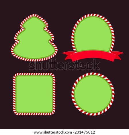 Set of Christmas banners with candy - stock vector