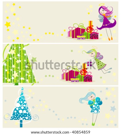 Set of Christmas banners with cute angels and Christmas trees - stock vector