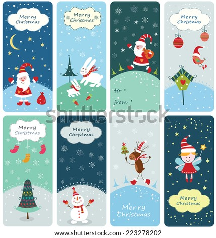 Set of Christmas banners with cute hand drawn elements