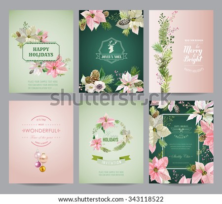 Set of Christmas Brochures and Cards - Colorful Layouts - in vector - stock vector