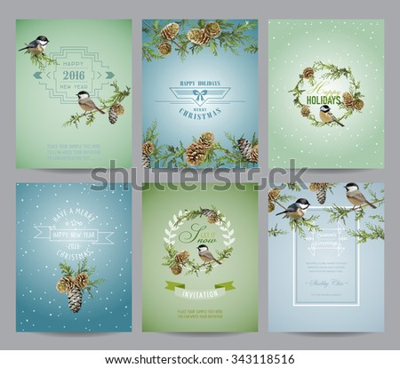 Set of Christmas Brochures and Cards - Winter Bird Layouts - in vector - stock vector
