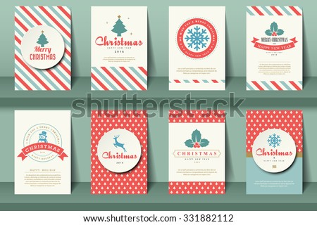 Set of  Christmas brochures in vintage style .Vector eps10