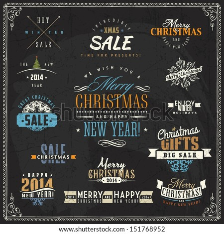 Set of christmas calligraphic and typographic elements, frames, vintage labels on a chalkboard. Chalk lettering - stock vector