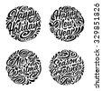 set of christmas calligraphic...