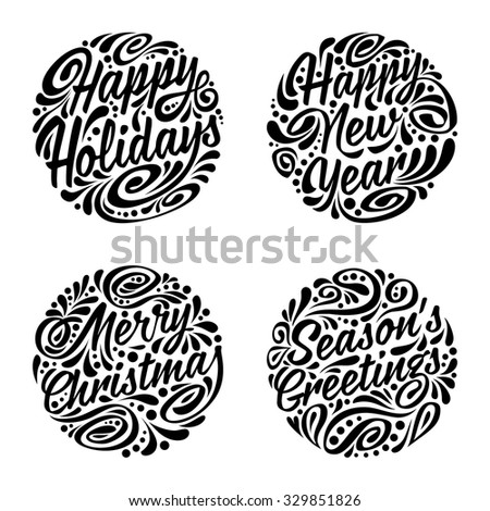 Set of Christmas calligraphic elements. Vector illustration - stock vector