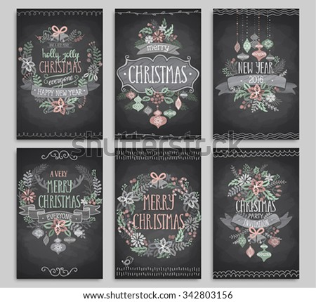 Set of Christmas cards - Chalkboard. - stock vector