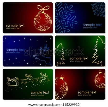 Set of Christmas cards, illustration. - stock vector