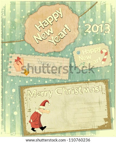 set of Christmas cards - New Year postcard in Retro style - vector illustration