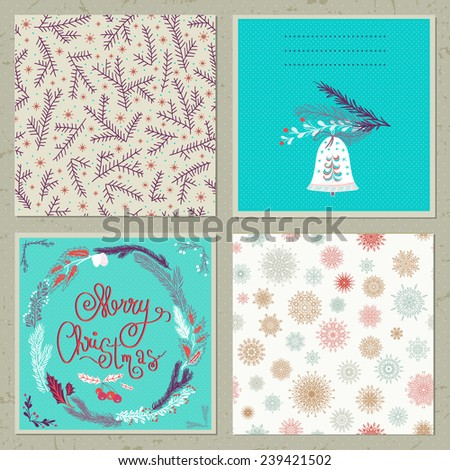 Set of Christmas Cards.Stylish Merry Christmas Card. - stock vector