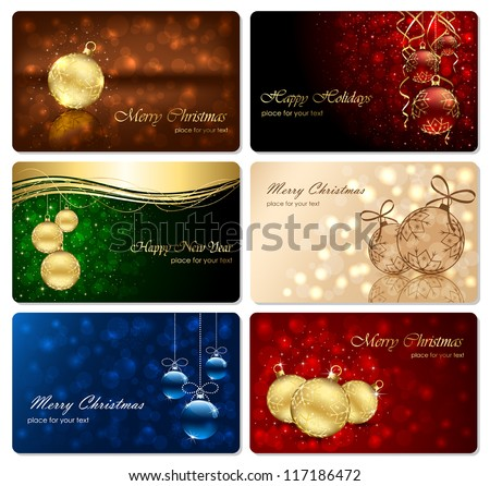 Set of Christmas cards with Christmas baubles, stars, snowflakes and blurry lights, illustration.