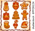set of Christmas cookies isolated on white background. christmas gingerbread icon: star, snowman, candy, hat, bell,sock, tree, ball, man. Vector illustration. - stock photo